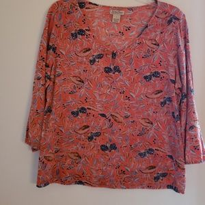 Lucky Brand cotton orange floral top sz large